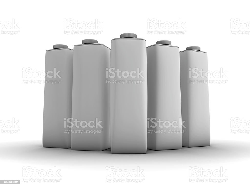Five Yougurt/Milk/Juice Packages stock photo