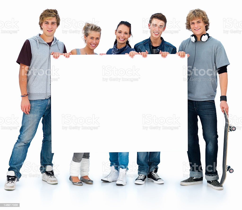 Five young men and women holding white placard royalty-free stock photo
