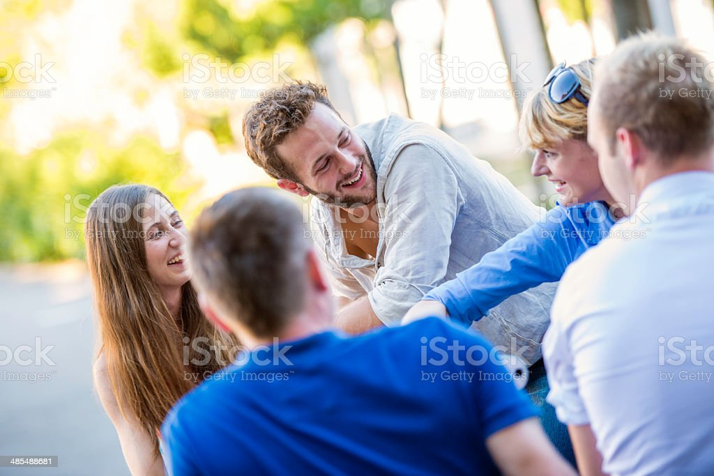 Five Young People In The Park stock photo