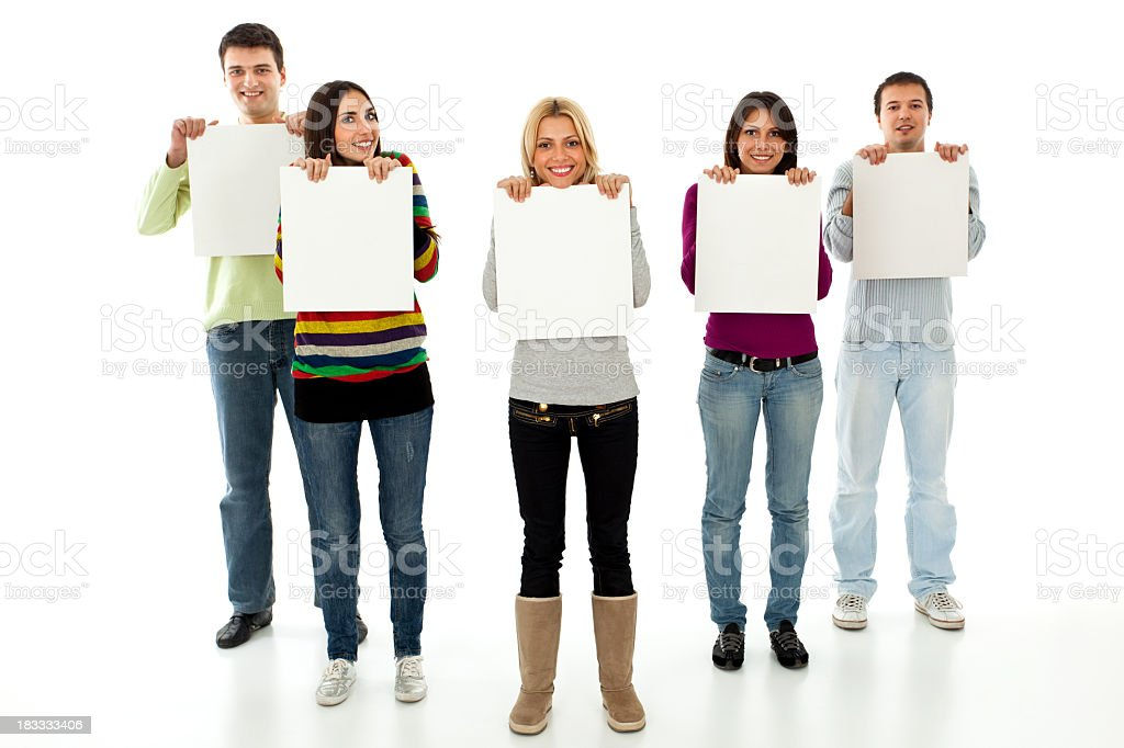 Five young smiling people holding blank placards royalty-free stock photo