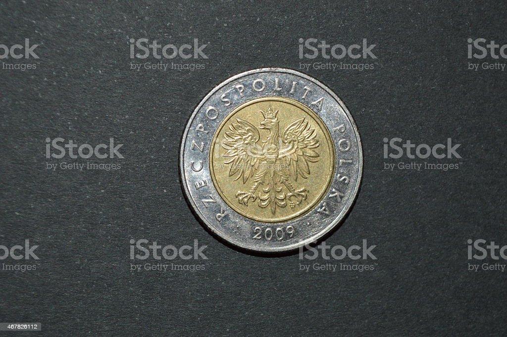 Moneda de cinco zloty polaco dinero pln posterior foto de stock libre de derechos