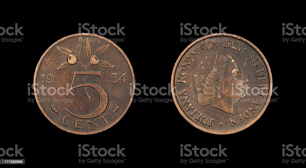 Five-Cent-Coin, Netherlands, 1954 royalty-free stock photo