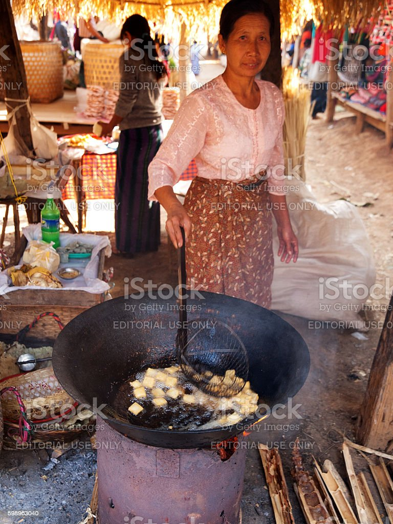 Five-day market, Inle Lake stock photo