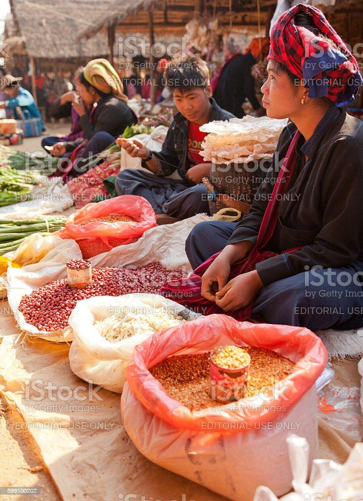 Five-day market, Inle Lake stock photo