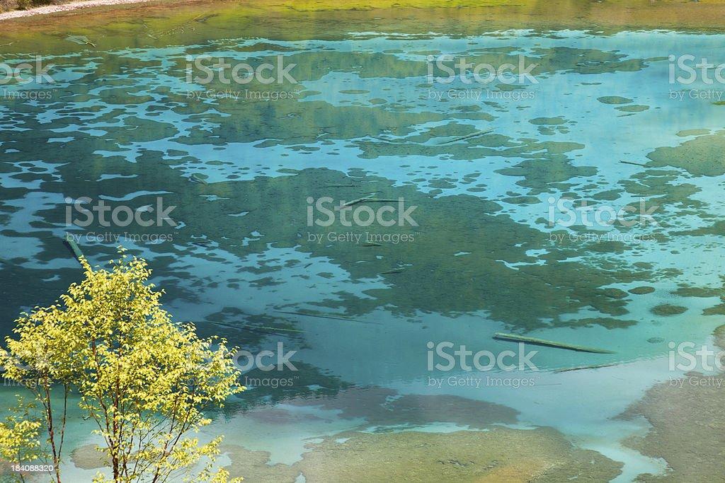 Five-Flowers Lake at Jiuzhaigou, Sichuan, China stock photo