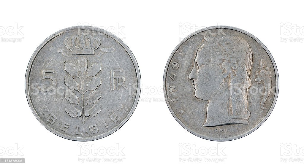 Five-Franc-Coin, Belgium, 1949 royalty-free stock photo