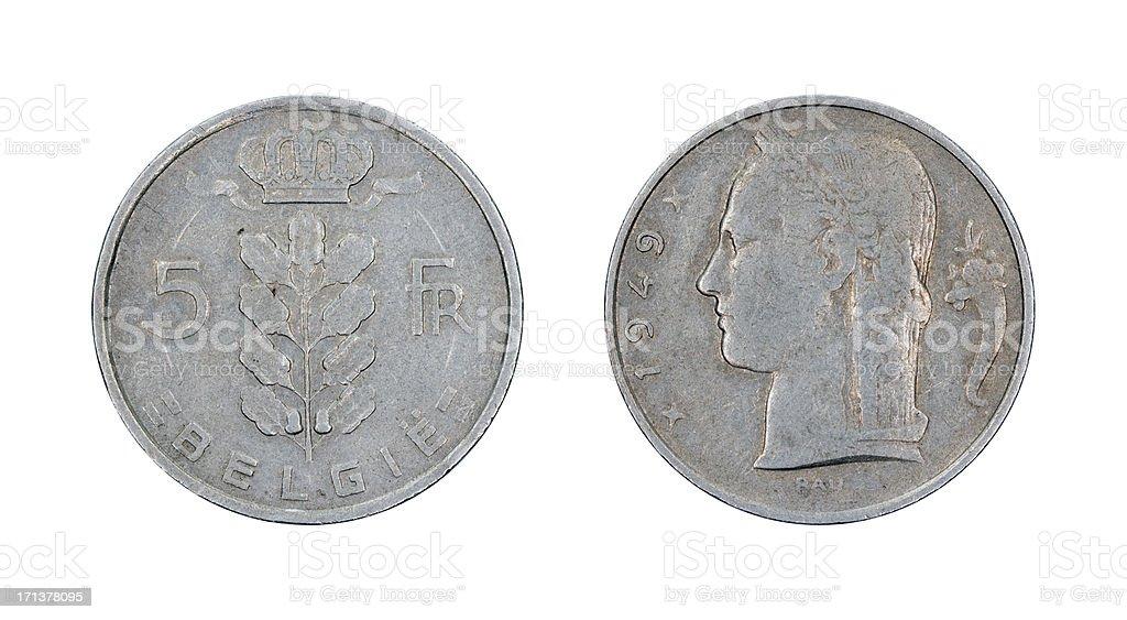 Five-Franc-Coin, Belgium, 1949 stock photo