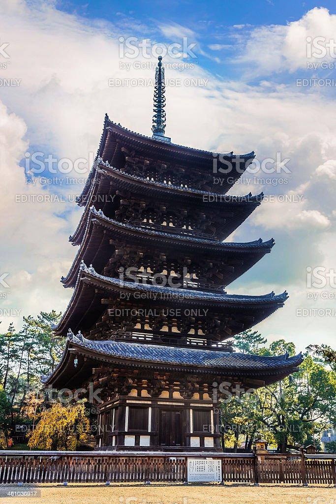 Five-storied pagoda at Kofukuji Temple in Nara stock photo