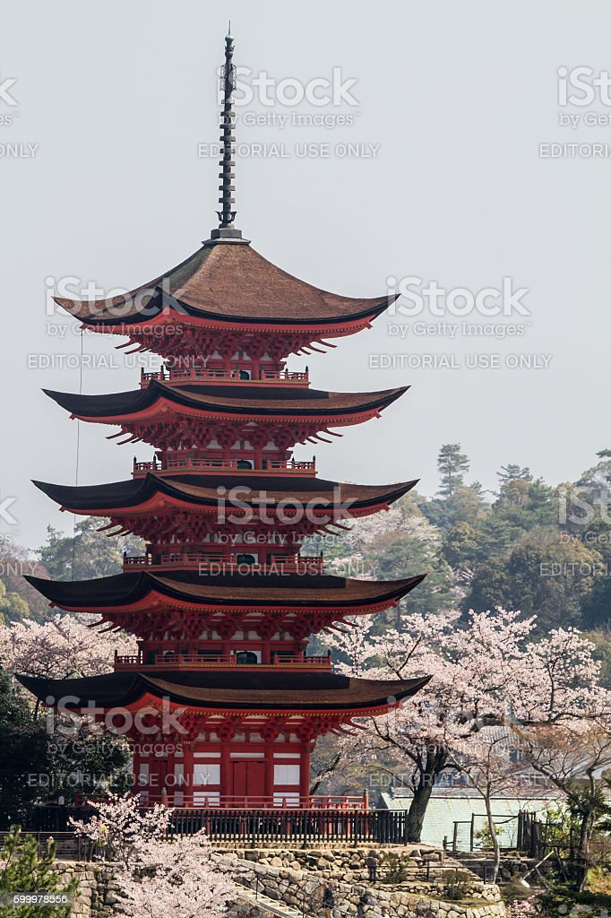 Five-story pagoda in the spring stock photo