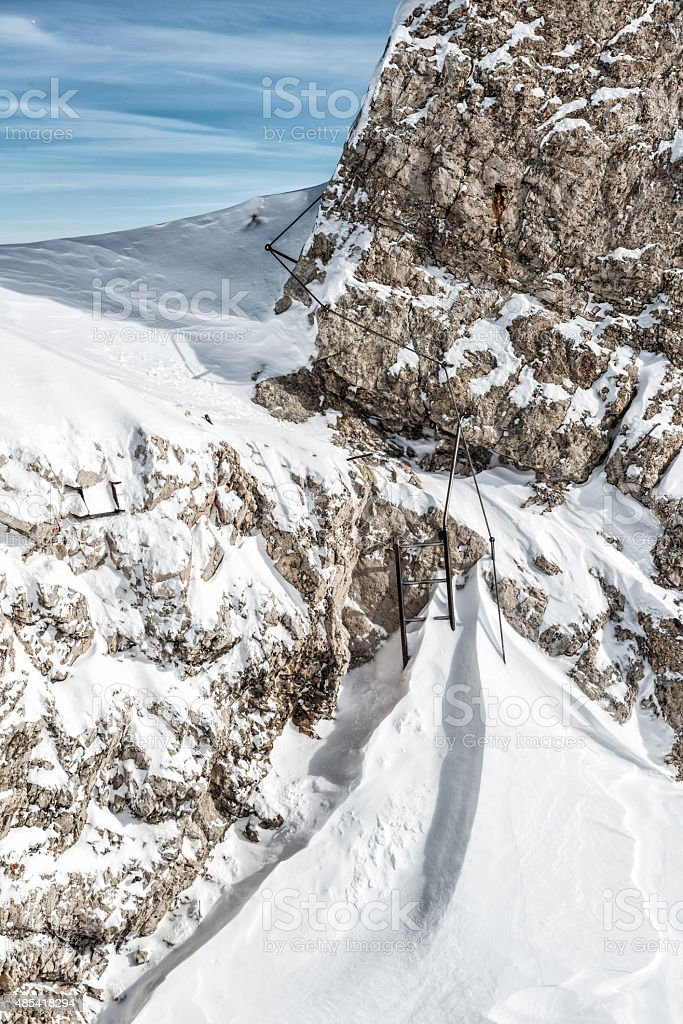 fixed rope route stock photo