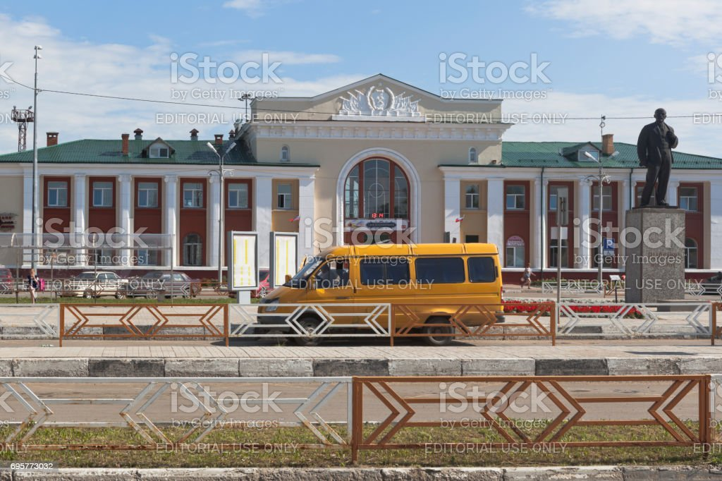 A fixed-route taxi at the station square of the Kotlas Yuzhny railway station in the Arkhangelsk Region stock photo
