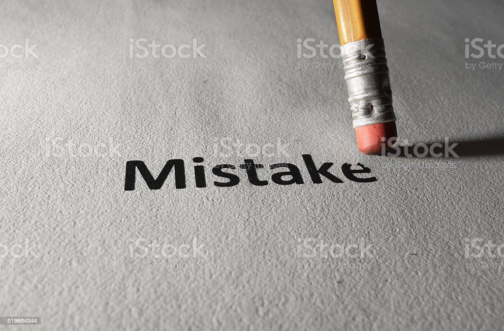 Fixing a mistake stock photo