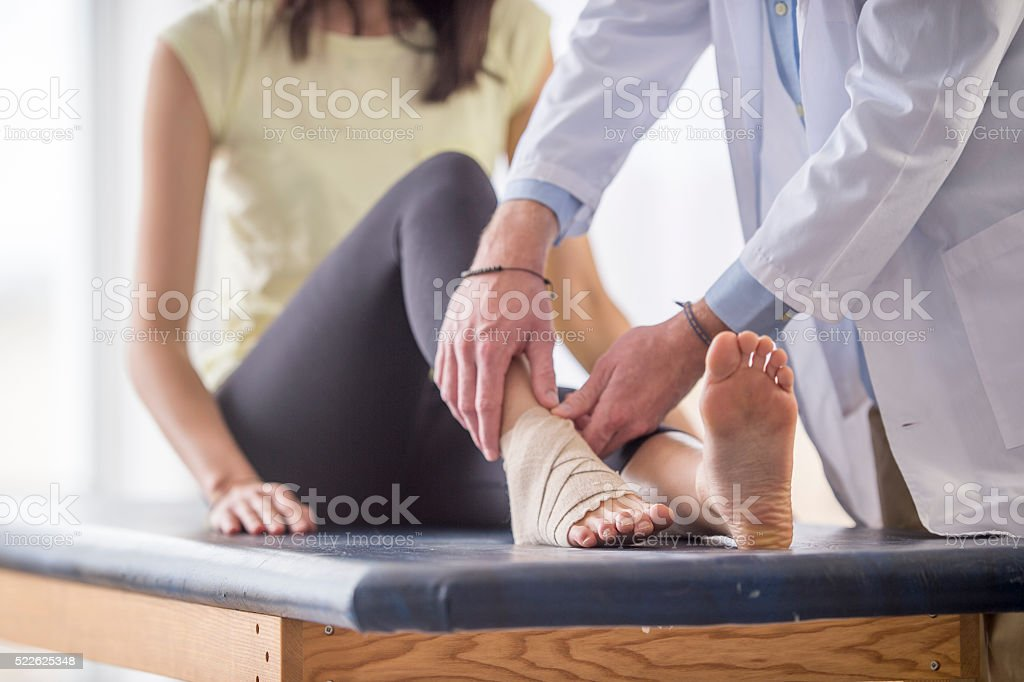 Fixing an Ankle Injury stock photo