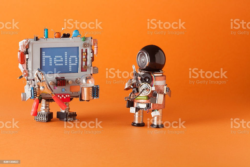 Fixing computer and repair center concept. Serviceman robot with...