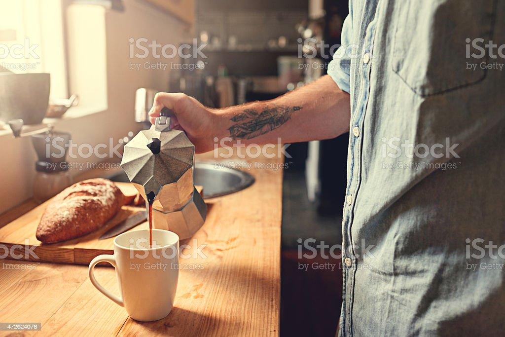Fixing some breakfast stock photo