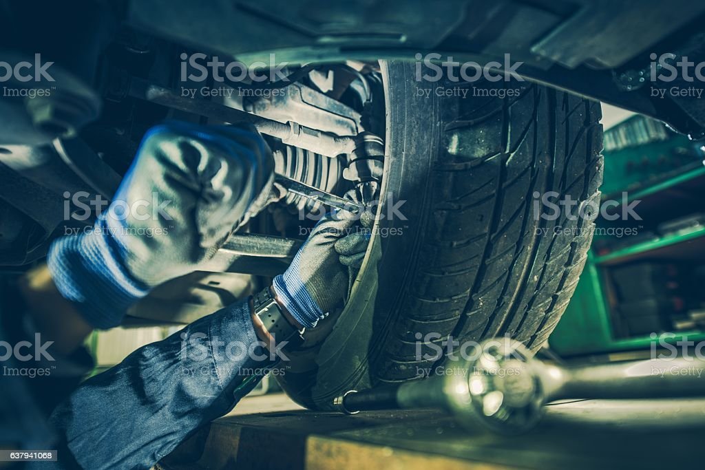 Fixing Steering System stock photo