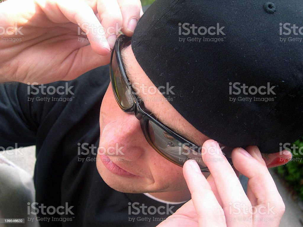 Fixing the Glasses royalty-free stock photo
