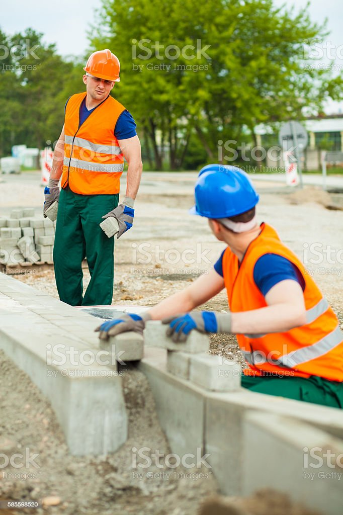 Fixing the pavestone stock photo