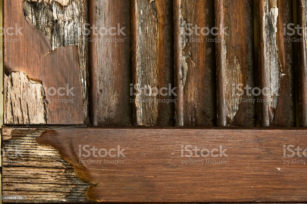 Fixing Wooden Shutters stock photo