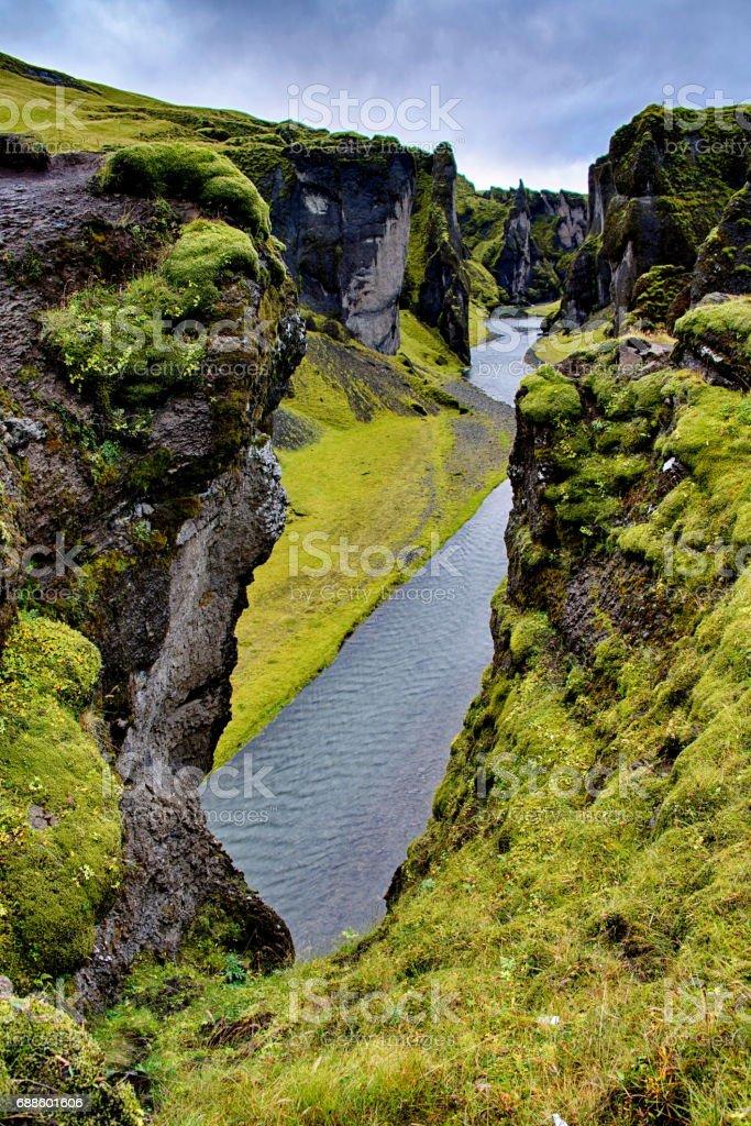Fjadrargljufur Canyon in Iceland stock photo