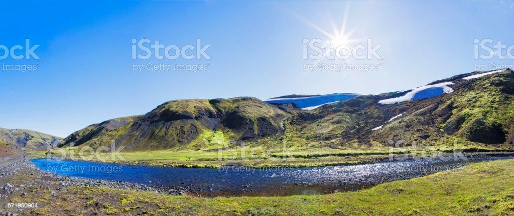 Fjallabak  National Park in Iceland - XXL Panorama stock photo