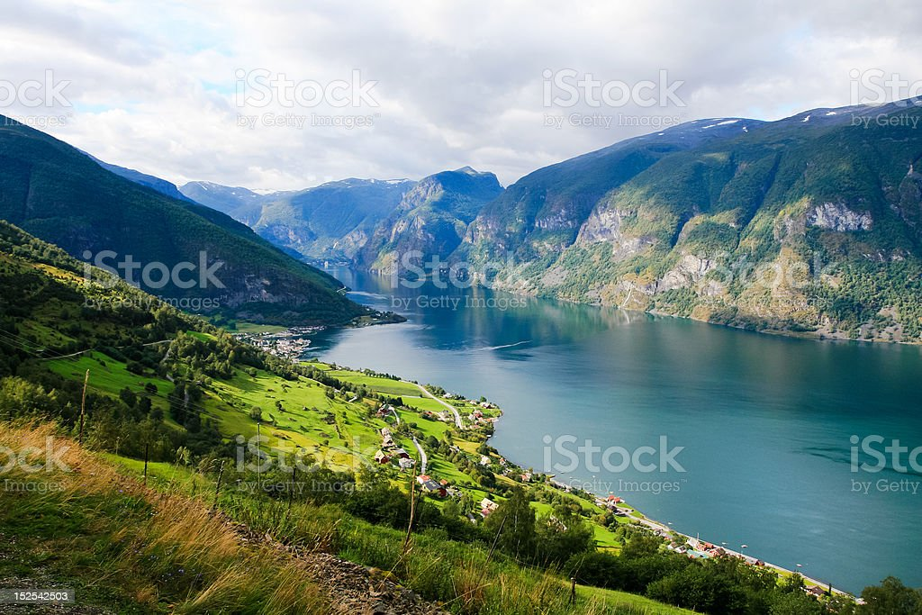 Fjord and mountains of Norway stock photo