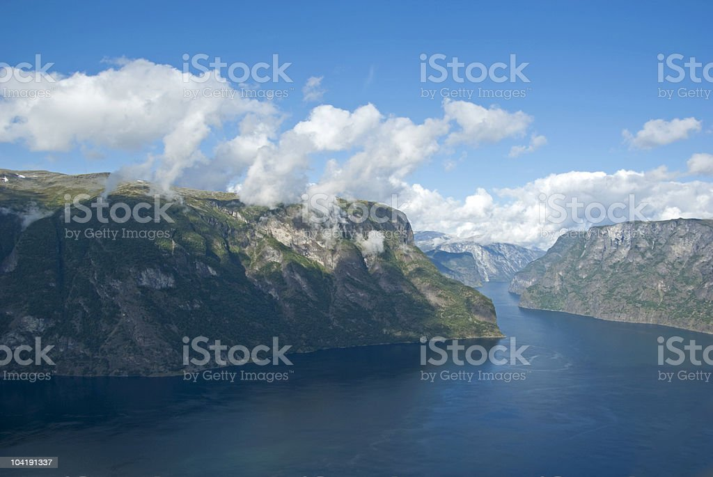 Fjord and mountains royalty-free stock photo