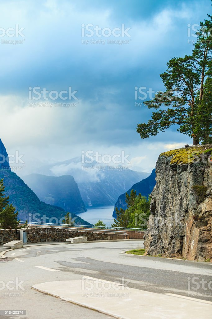 Fjord and Stegastein lookout in Norway stock photo
