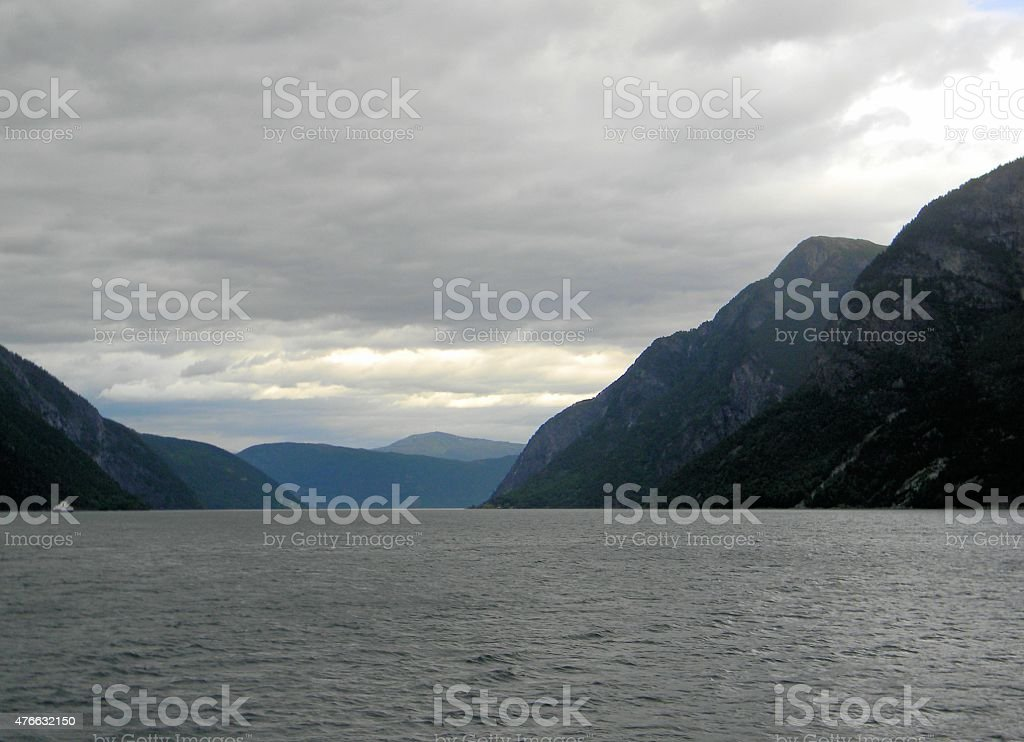 Fjord at Dusk stock photo