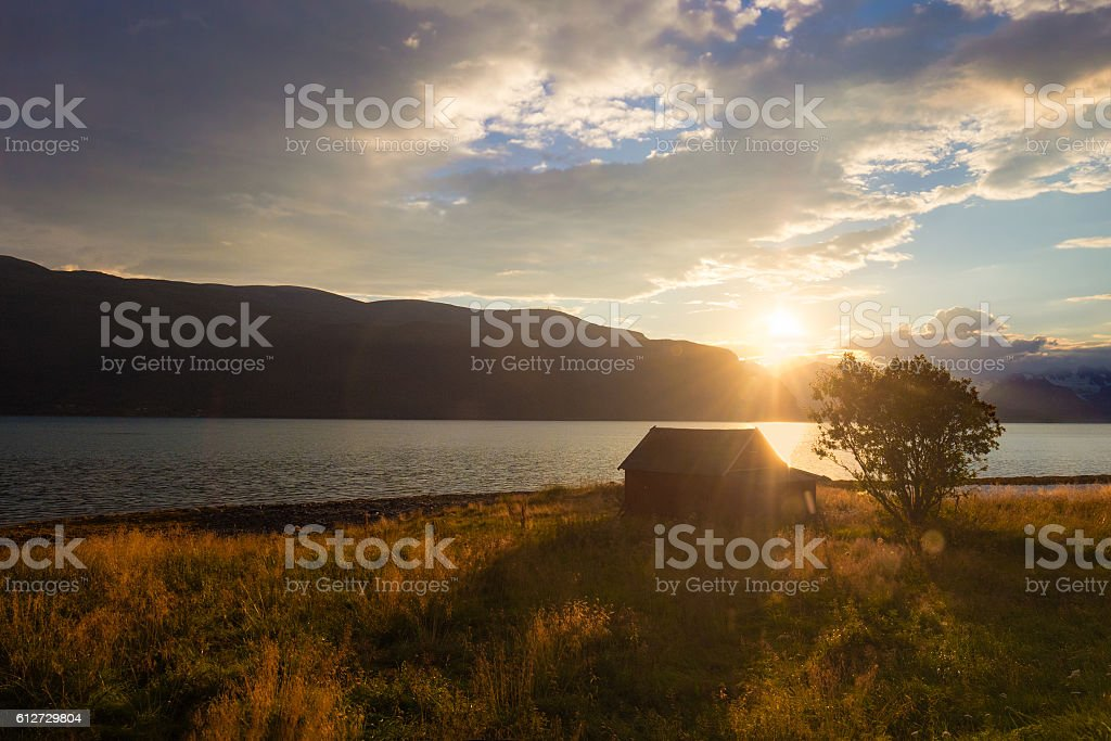 Fjord at sunset stock photo