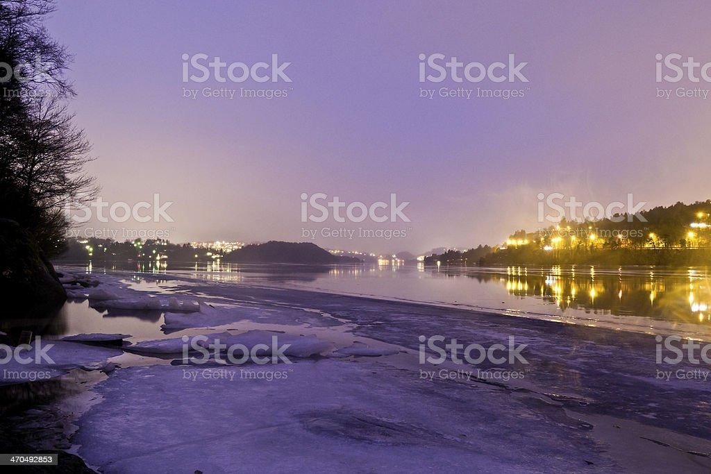 Fjord of Gamlehaugen at night royalty-free stock photo