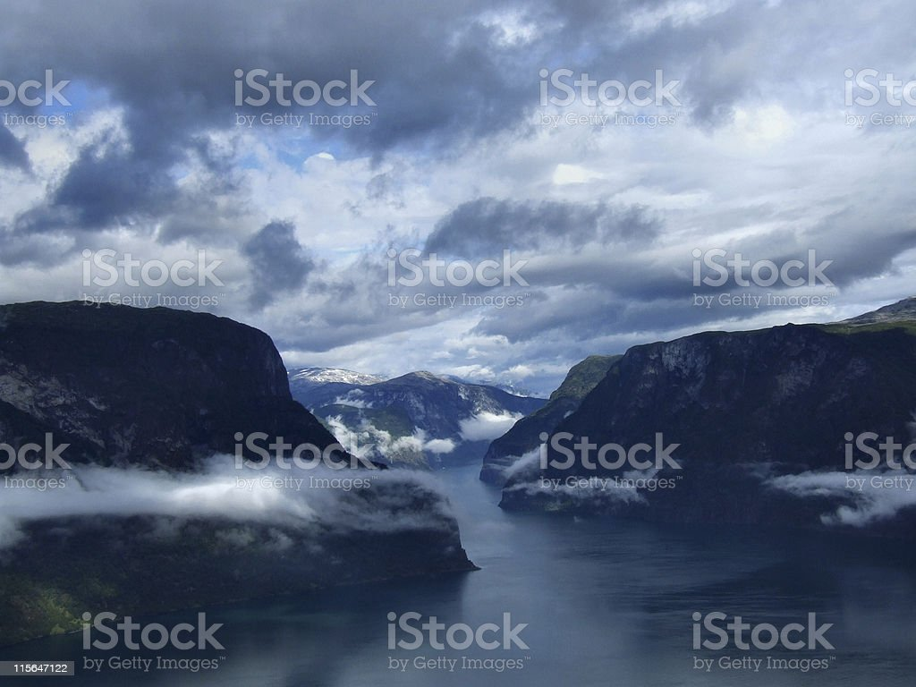 Fjord postcard from Norway royalty-free stock photo