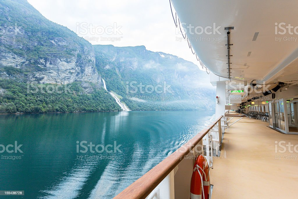 Fjord View on a Cruise Ship stock photo