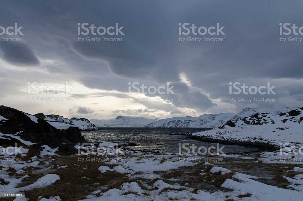 Fjords in Winter stock photo