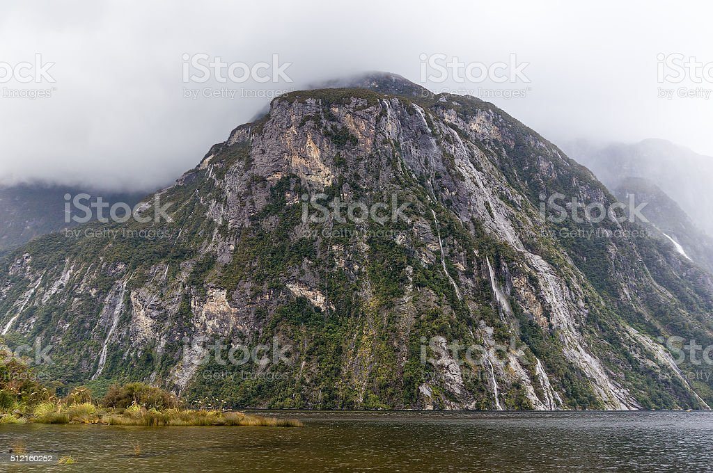 Fjords of Milford Sound, South Island, New Zealand stock photo