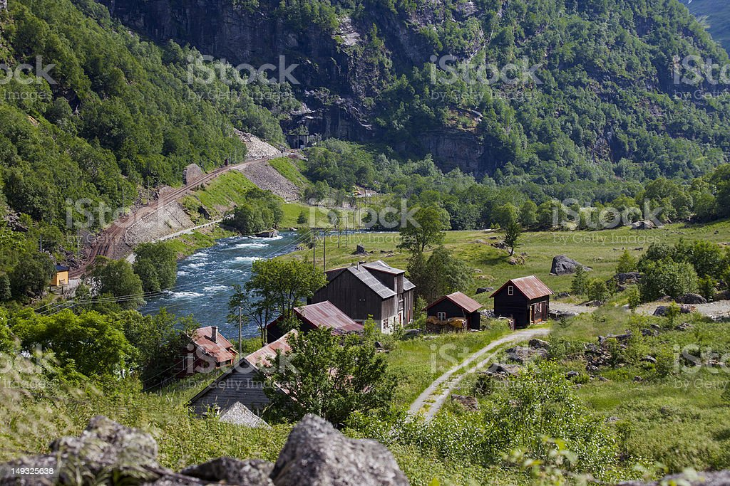 Flåmsdalen - popular bike and hiking  areas in Norway stock photo