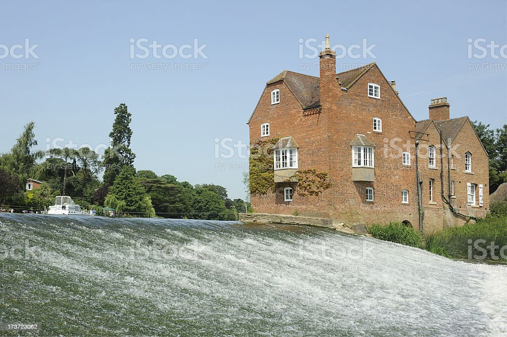 Fladbury Weir and Cropthorne Mill royalty-free stock photo