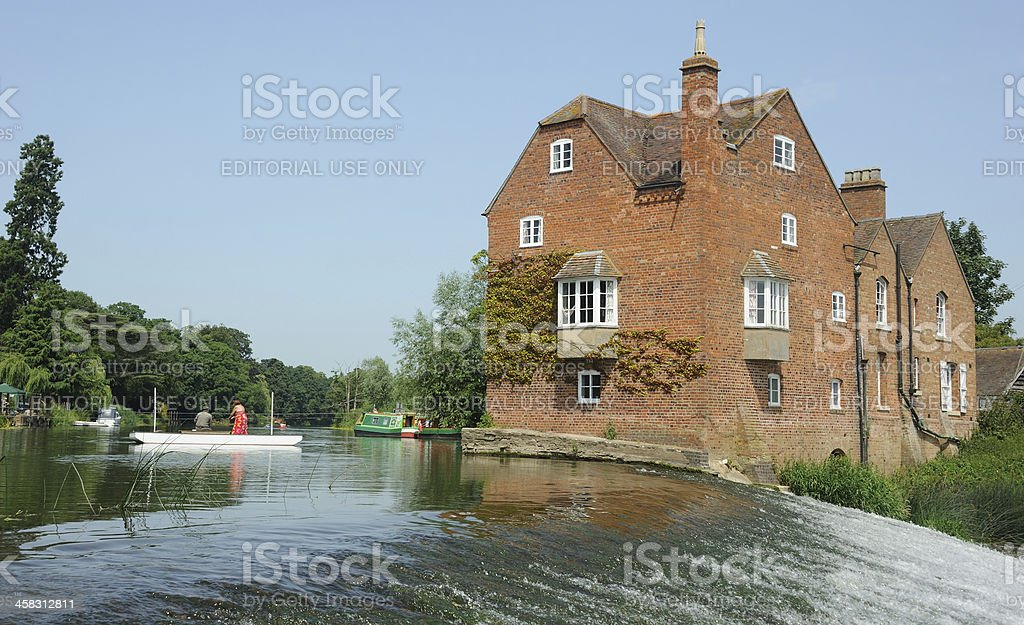 Fladbury Weir and Cropthorne Mill royalty-free stock photo