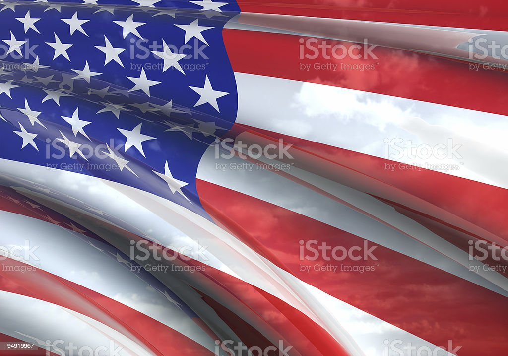 US flag 3D royalty-free stock photo