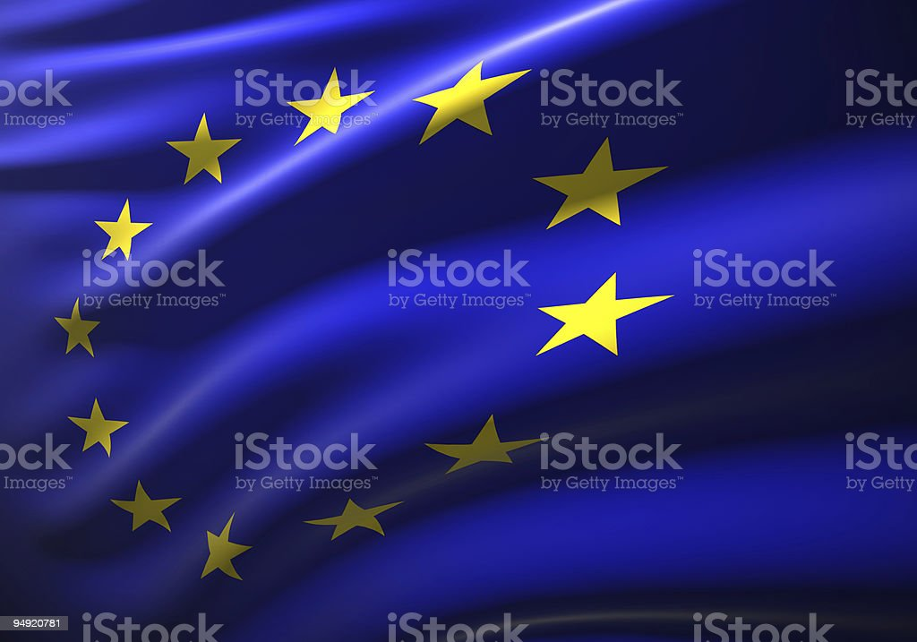 EU flag 3D royalty-free stock photo