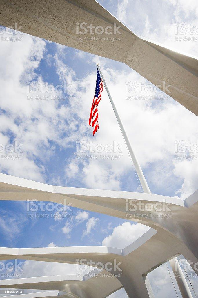 Flag Above USS Arizona stock photo