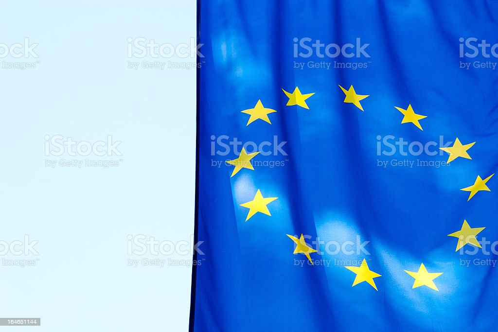 EU flag against the sky royalty-free stock photo
