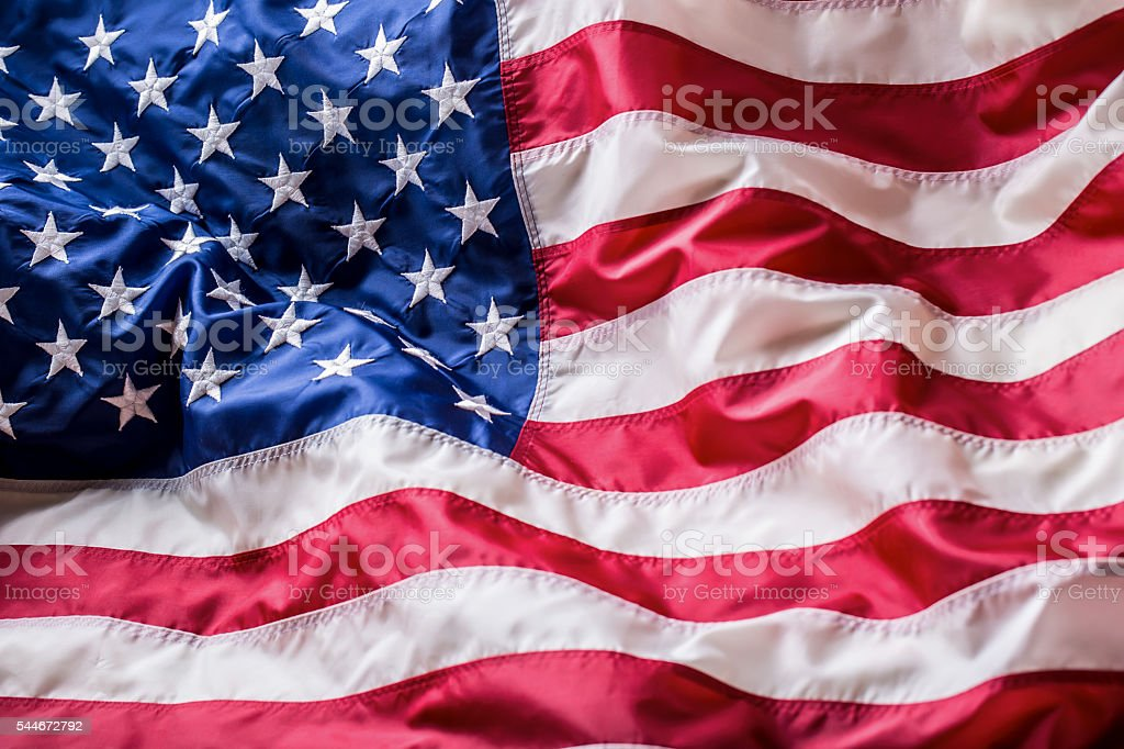 USA flag. American flag. American flag blowing wind. stock photo