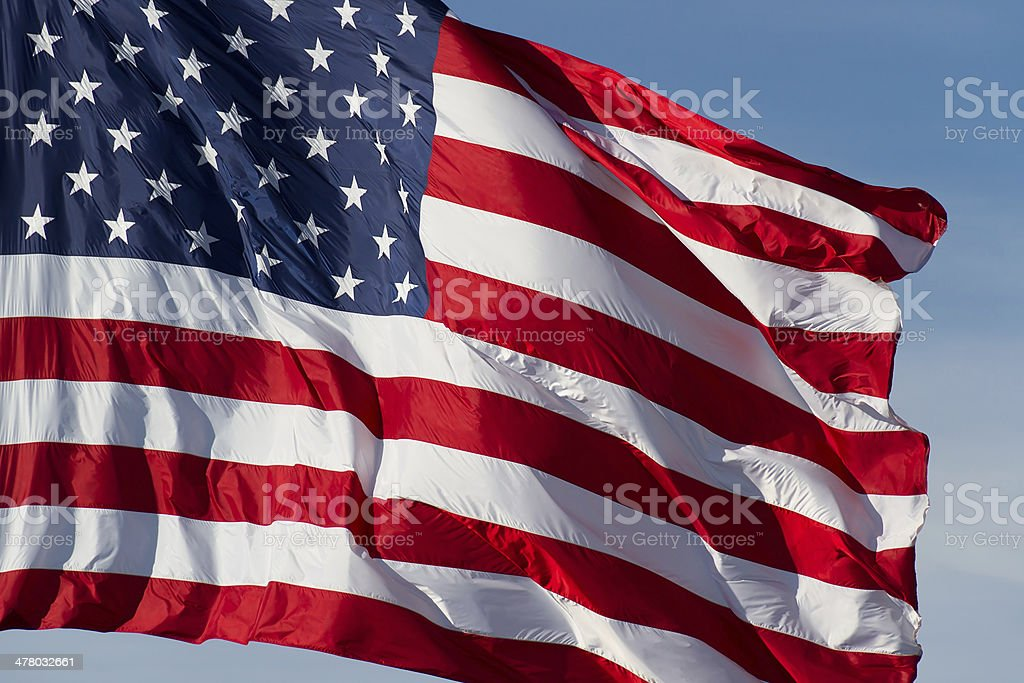 US Flag and Blue Sky royalty-free stock photo