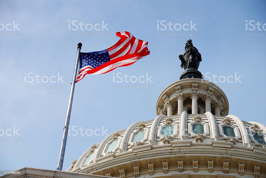 US Flag and Capitol building, Washington DC stock photo