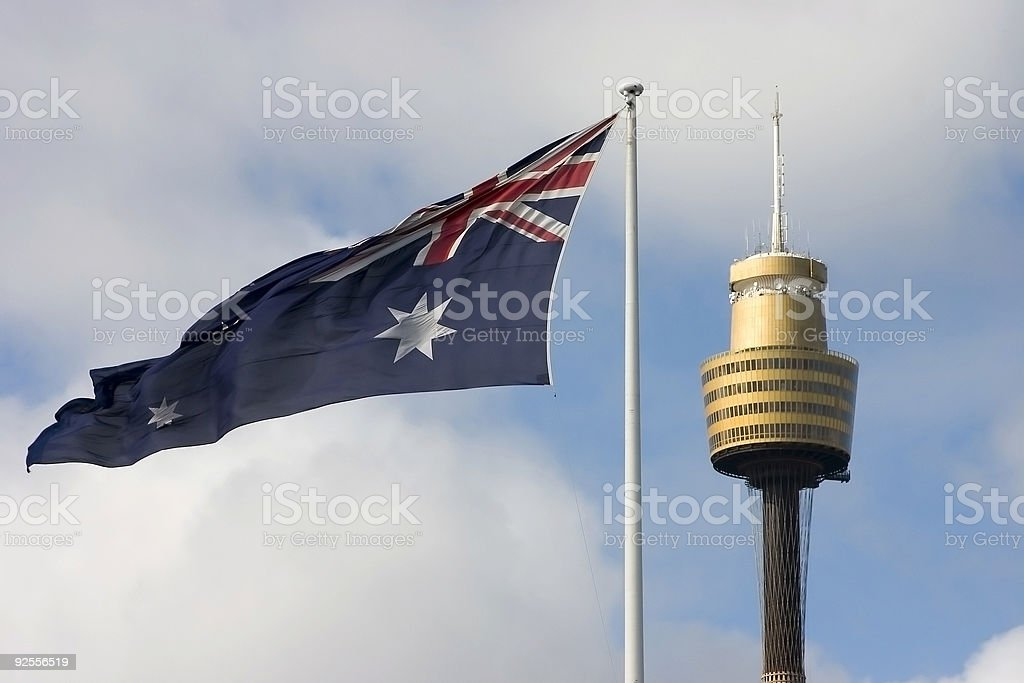 Flag and Centrepoint Tower royalty-free stock photo
