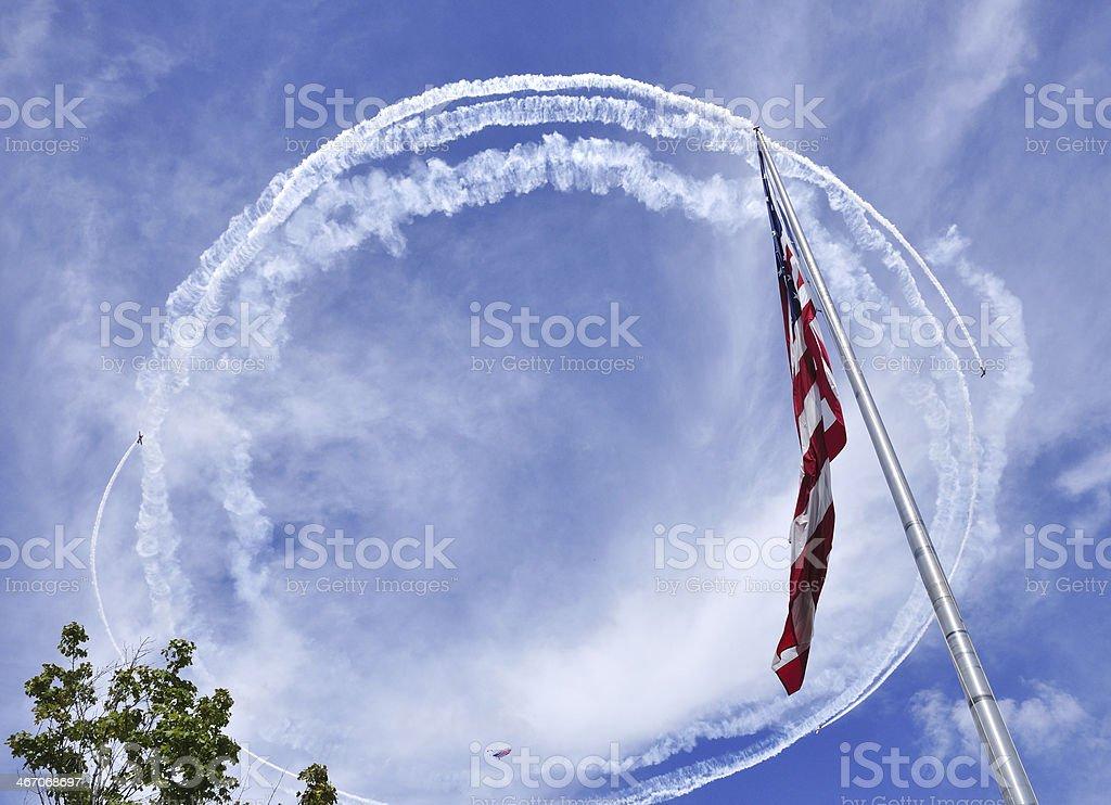 USA flag and circle stock photo