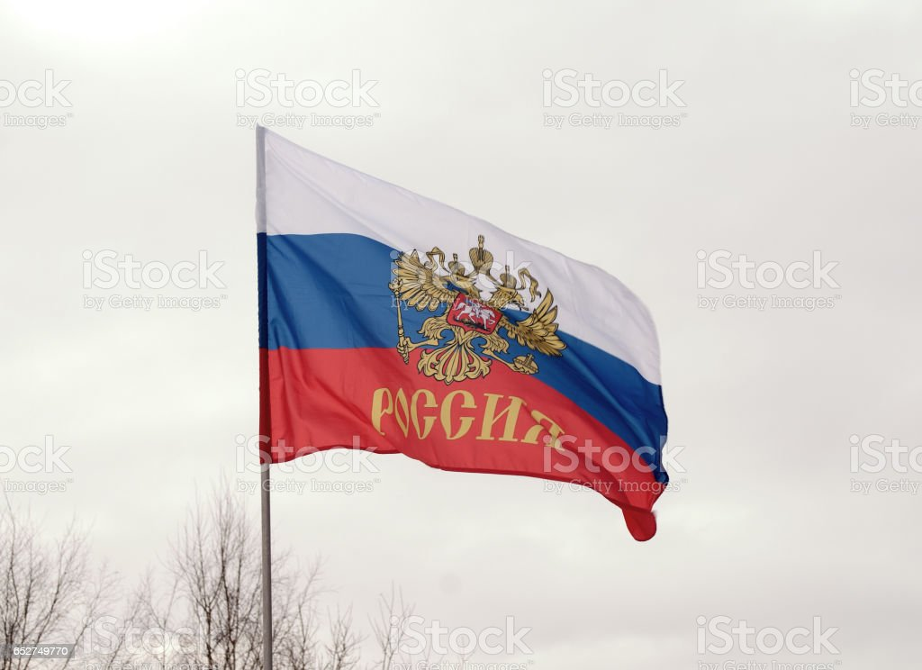 Flag and coat of arms of the Russian Federation stock photo