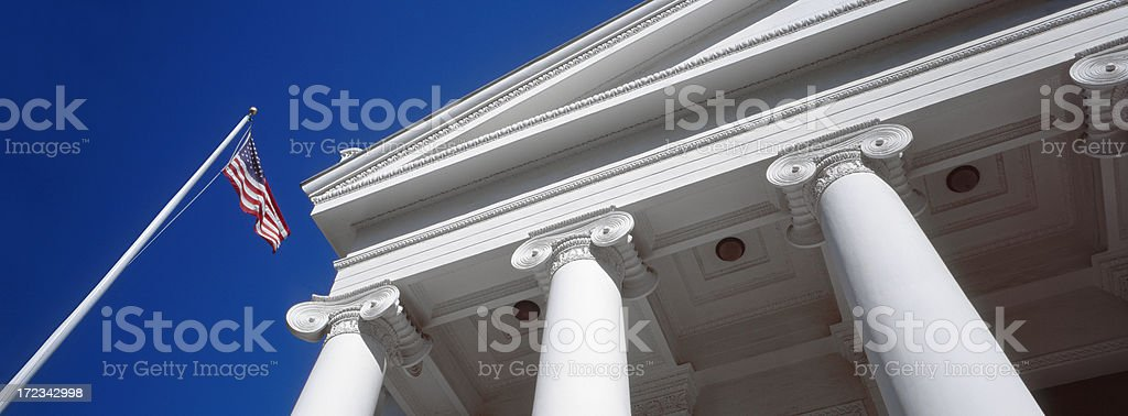 US Flag and Columns stock photo