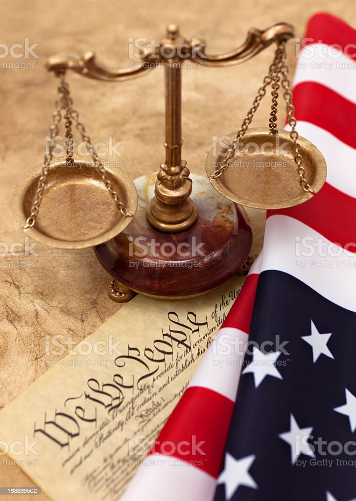 US flag and Constitution royalty-free stock photo